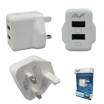 AVF Twin Port USB Power Adapter (UK Type) 10W/2.1A - AUTA05