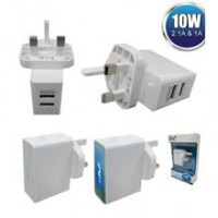 AVF 2 Port USB Power Adapter (UK Type) Max2.1A - AUTA06