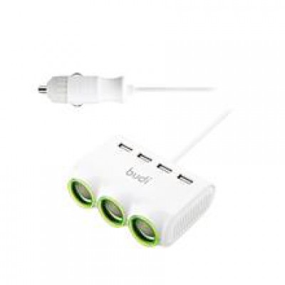 Budi  Car Charger + 4USB Port + 3DC/DC - CC164WH